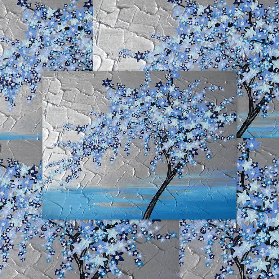 Blue blossom tree Painting by Cathy Jacobs