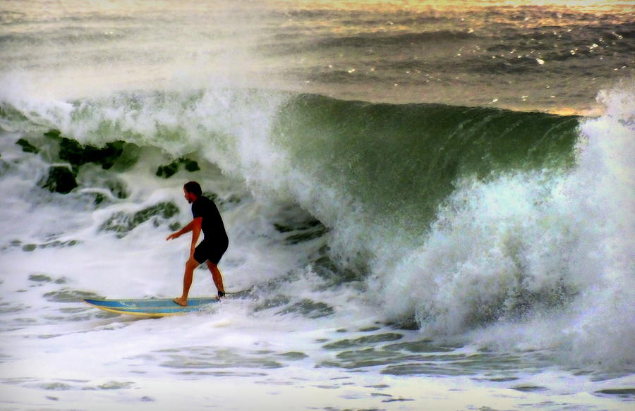 Surfers Photograph - Blue Board by Karen Wiles