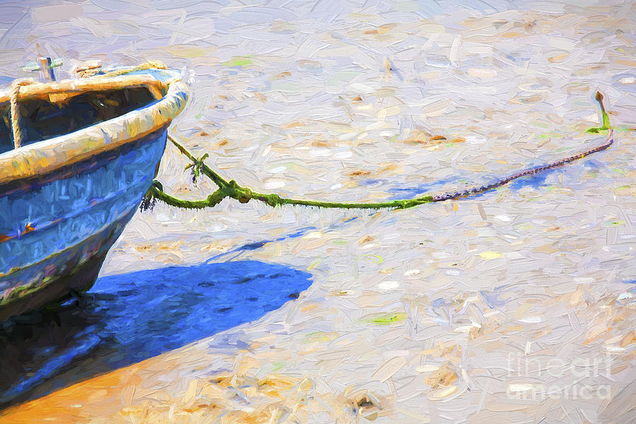 Abstract Photograph - Blue Boat On Mudflat by Sheila Smart Fine Art Photography