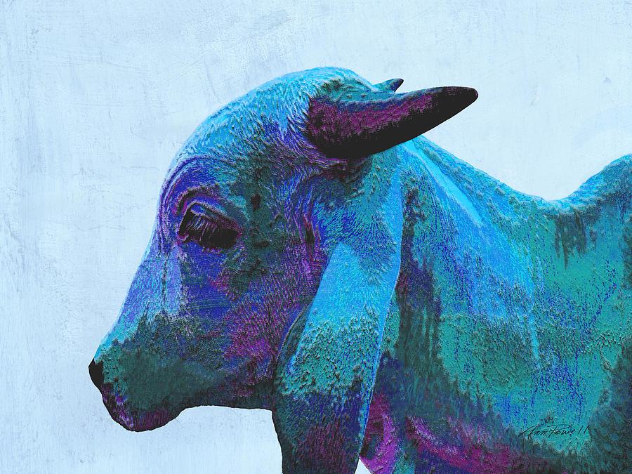 Cow Digital Art - Blue Brahma by Ann Powell