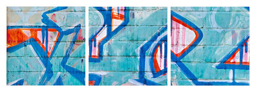 Brick Photograph - Blue Brick Graffiti by Art Block Collections