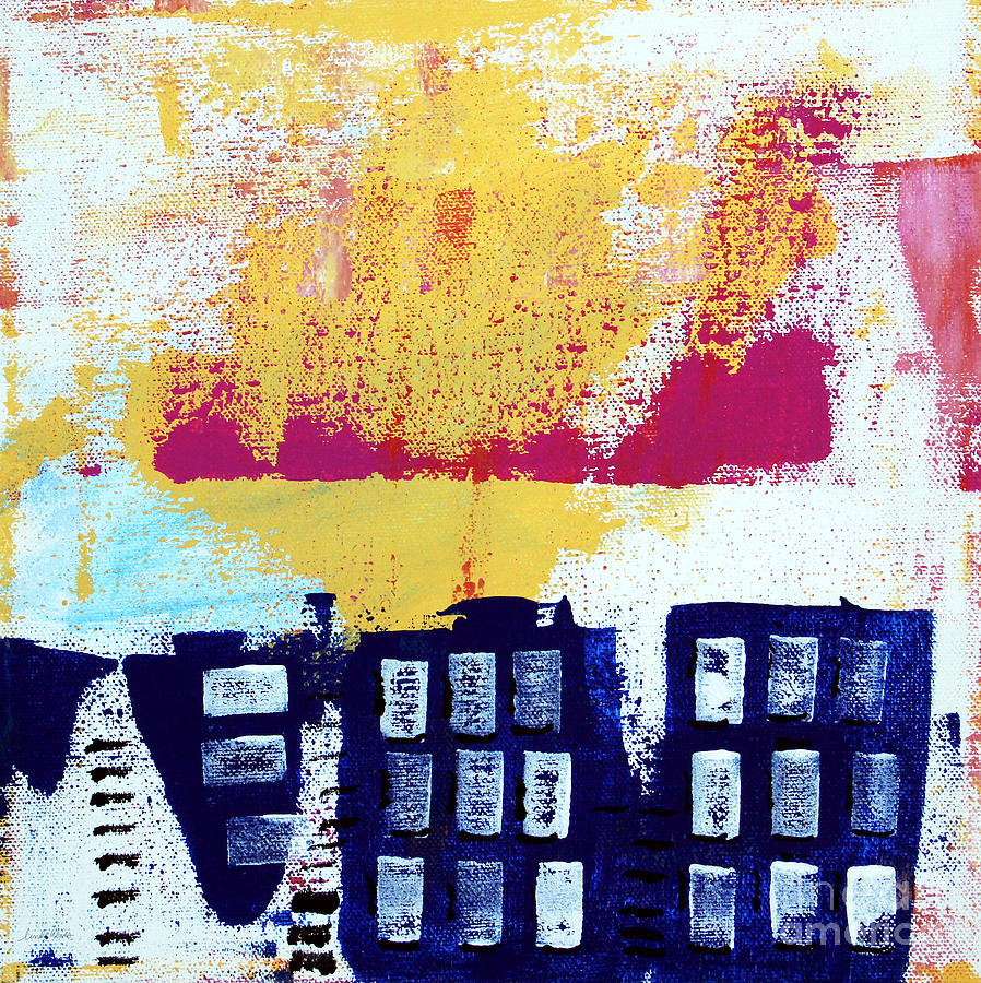 Abstract Painting Painting - Blue Buildings by Linda Woods