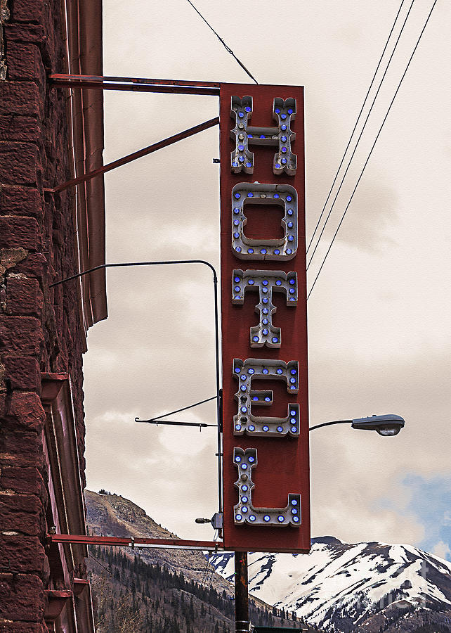 Vintage Photograph - Blue Bulbs Hotel Sign by Janice Rae Pariza