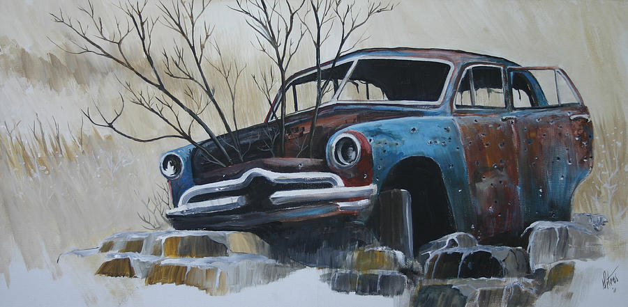 Car Painting - Blue Bullet by Gregory Peters