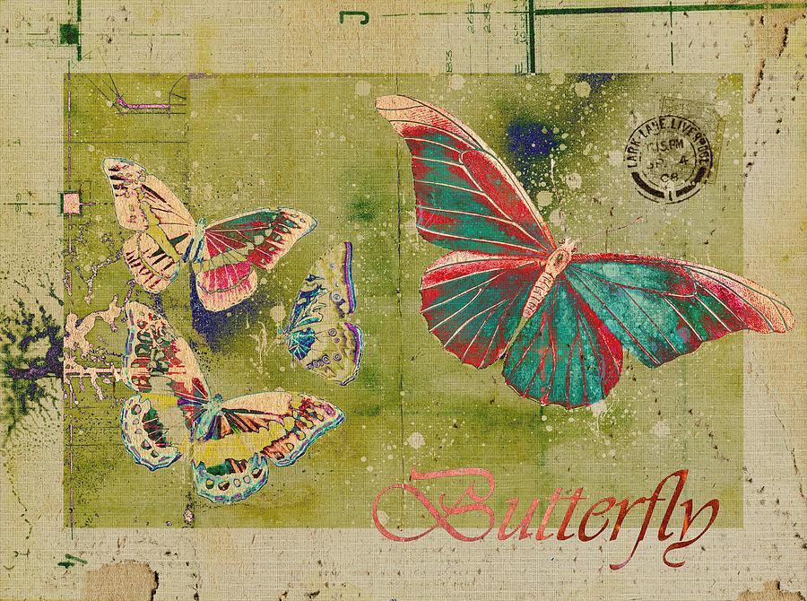 Butterflies Digital Art - Blue Butterfly Etc - S55ct01 by Variance Collections