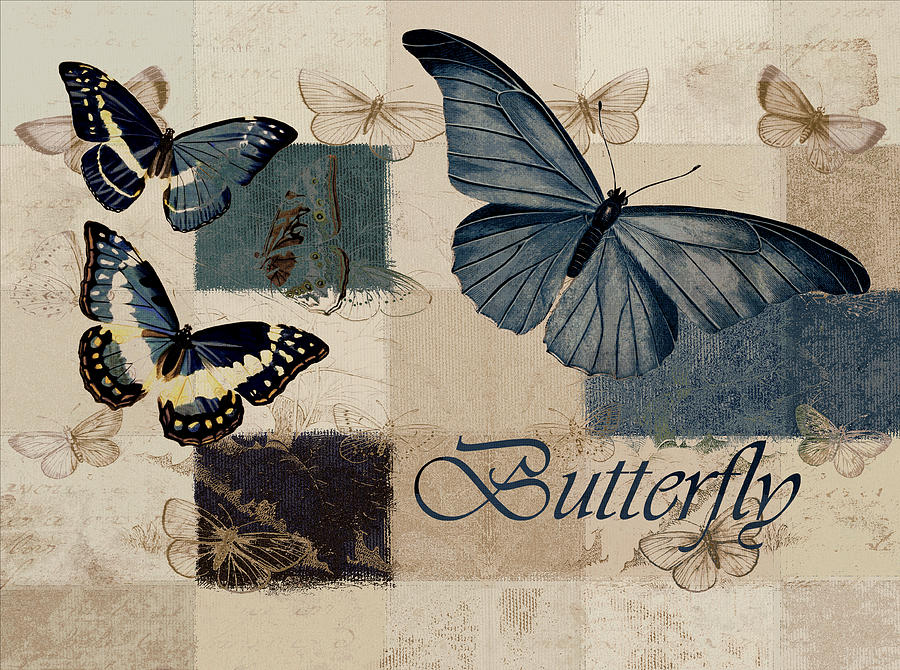 Butterfly Digital Art - Blue Butterfly - J118118115-01a by Variance Collections