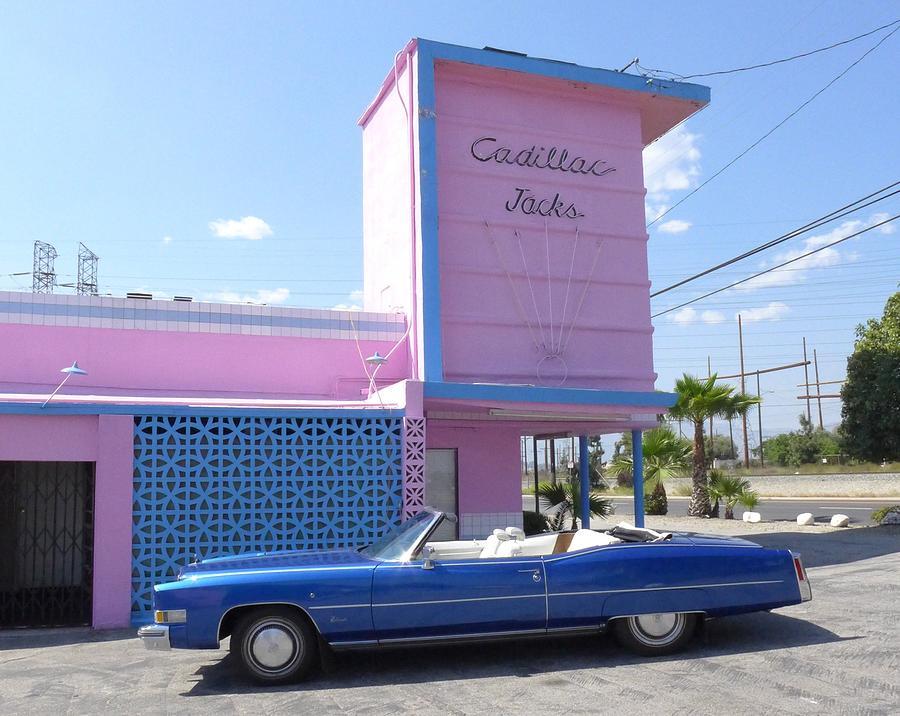 Blue Cadillac At Cadillac Jacks Photograph by Jim Steinfeldt