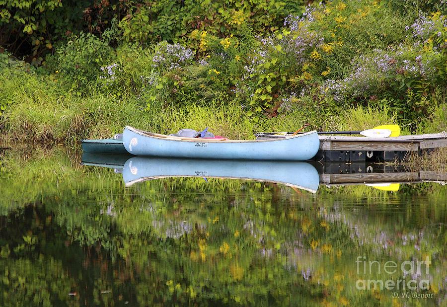 Pond Photograph - Blue Canoe by Deborah Benoit