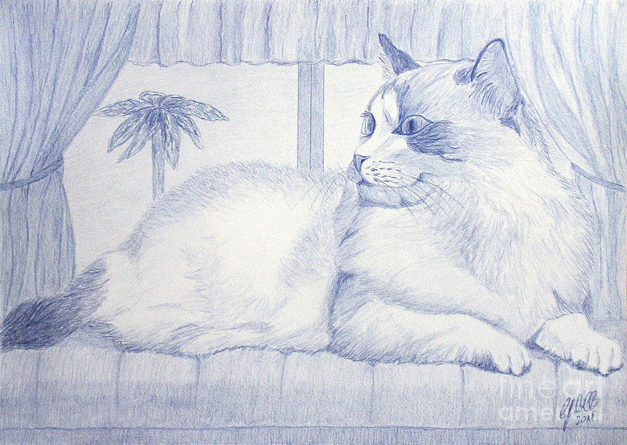 Tile Painting - Blue Cat by Cybele Chaves