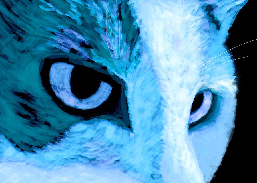 Cat Digital Art - Blue Cat Face by Ann Powell
