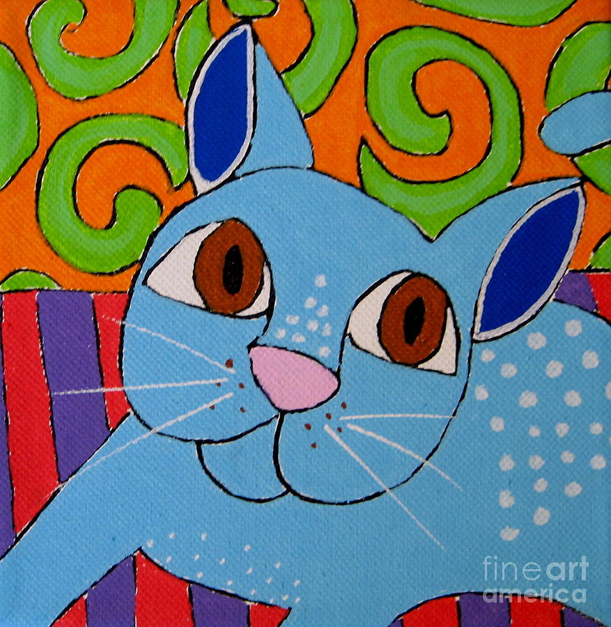 Cat Painting - Blue Cat by Susan Sorrell