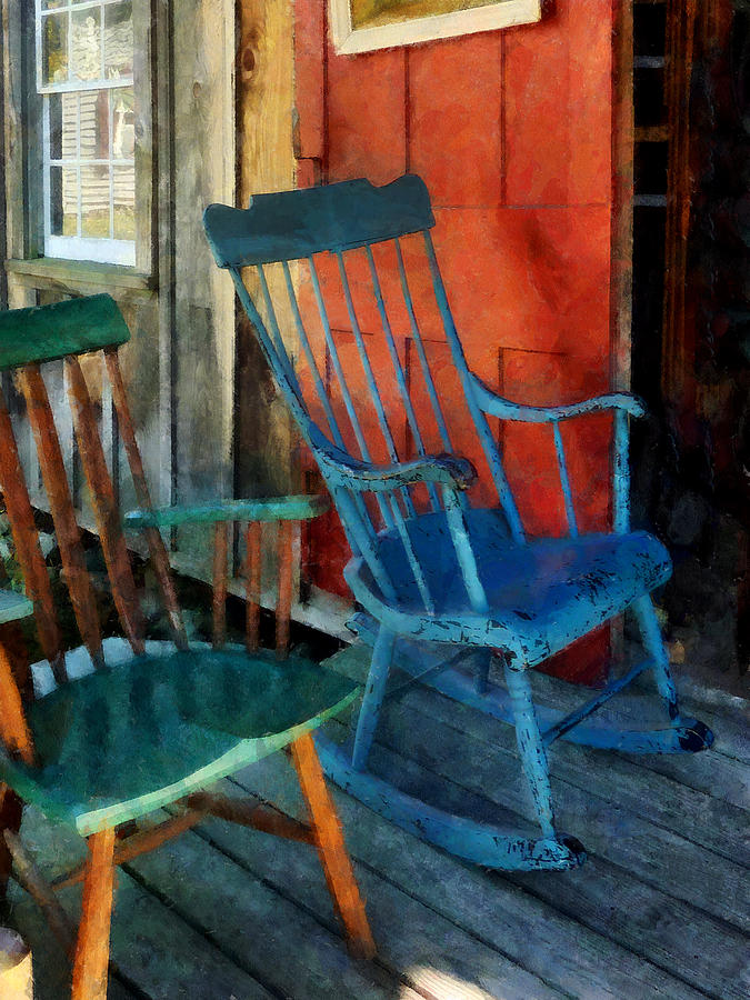 Porch Photograph - Blue Chair Against Red Door by Susan Savad