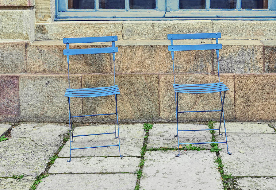 Empty Photograph - Blue Chairs 1 Stockholm Sweden by Marianne Campolongo