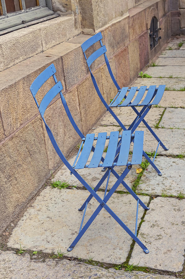 Europe Photograph - Blue Chairs 2 Stockholm Sweden by Marianne Campolongo