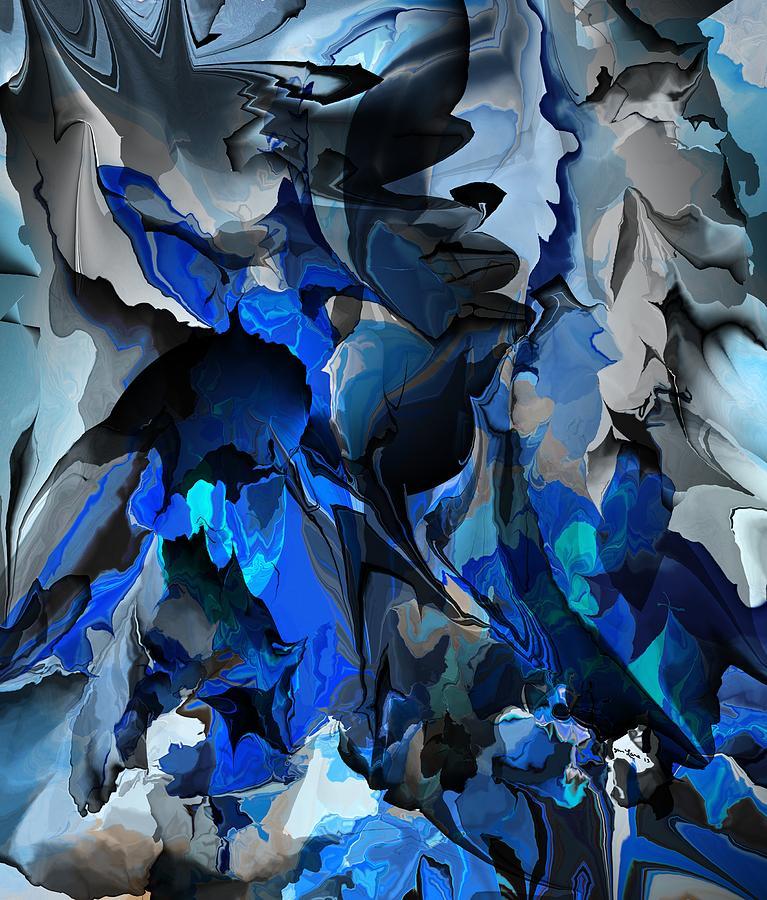 Abstract Digital Art - Blue Chaos by David Lane