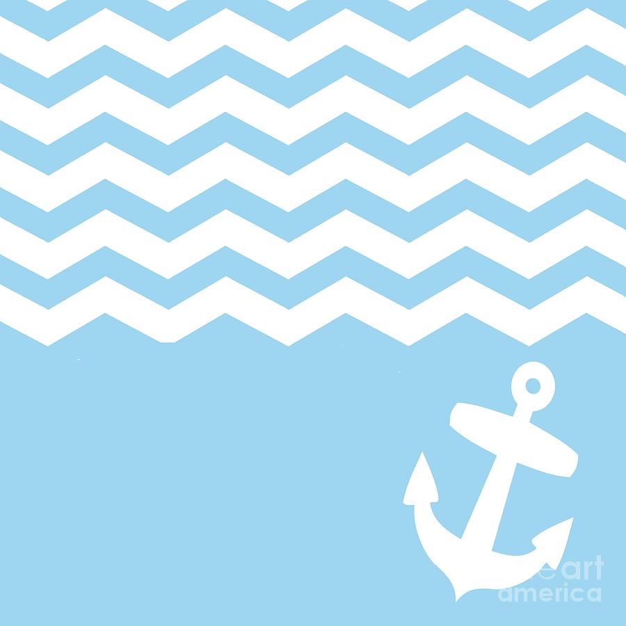blue chevron and anchor digital art by li or