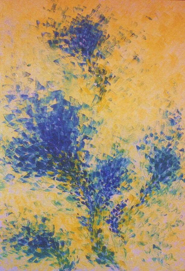 Abstract Painting - Blue Chrysanthemums by Kusum Shukla