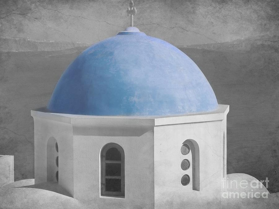 Dome Photograph - Blue Church Dome by Sophie Vigneault