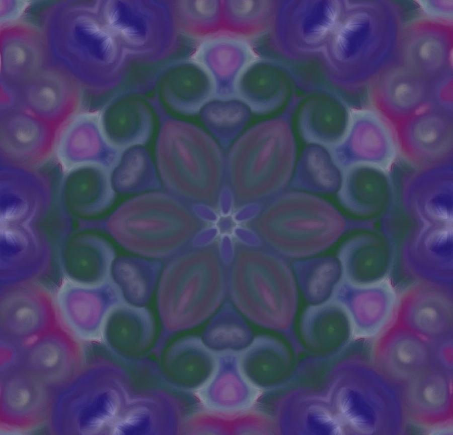 Computer Generated Painting Digital Art - Blue Circle Mandala by Karen Buford
