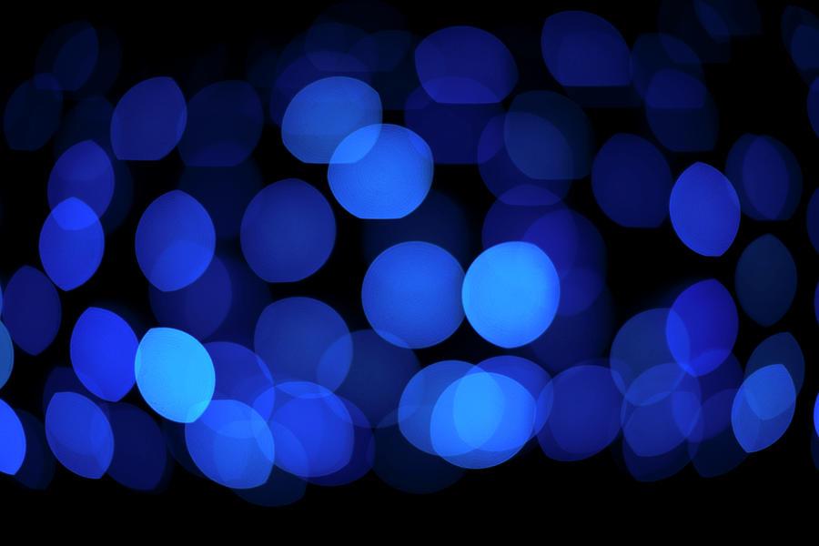 Blue Circular Light Pattern Digital Art by Ralf Hiemisch