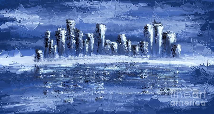 Abstract Digital Art - Blue City by Svetlana Sewell