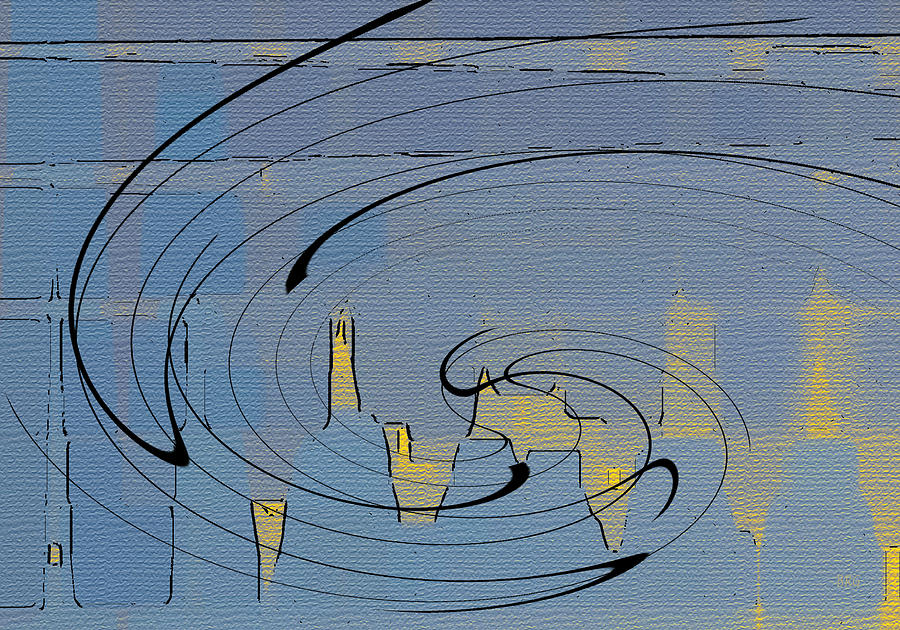 Blue Abstract Digital Art - Blue Cityscape by Ben and Raisa Gertsberg