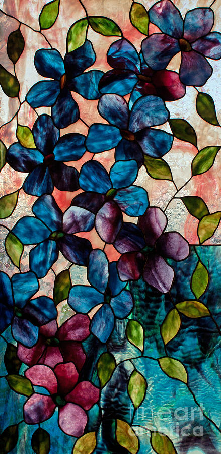 Stained Glass Glass Art - Blue Clematis by David Kennedy