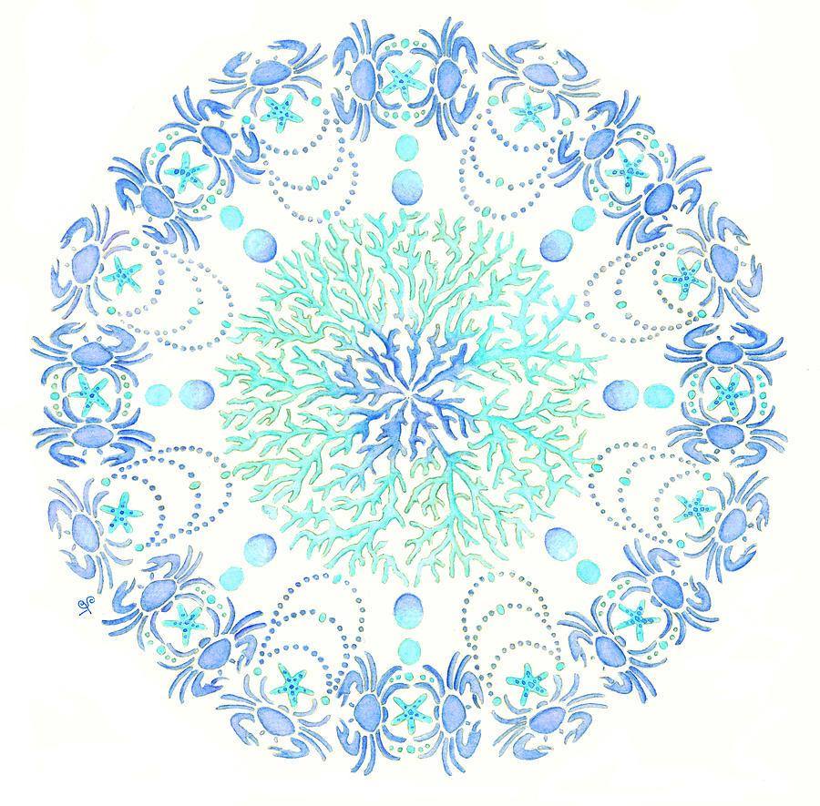 Waves Painting - Blue Crab Mandala 5 by Stephanie Wagg