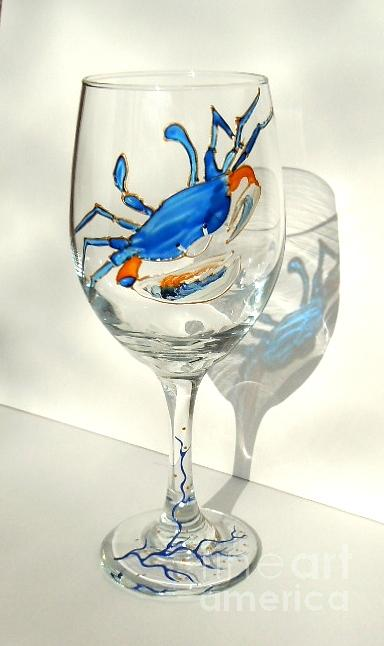 Blue Crab Glass Art - Blue Crab On Glass by Pauline Ross