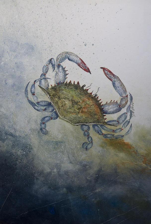 Crab Mixed Media - Blue Crab Print by Nancy Gorr