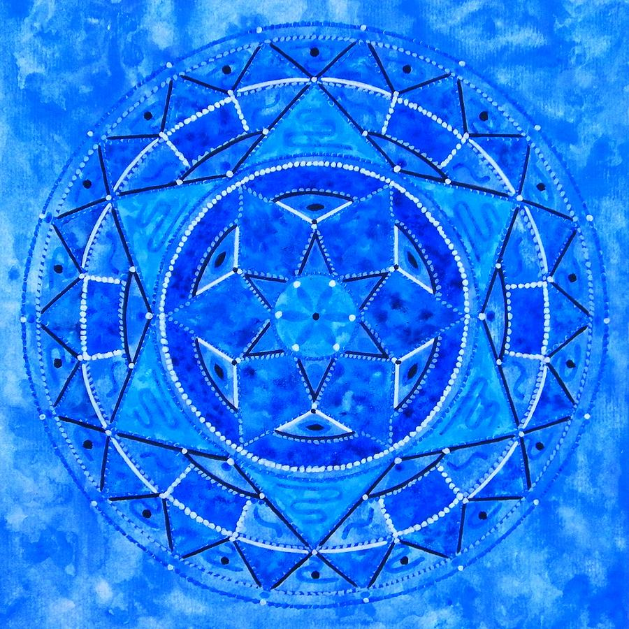 Blue Crystal Mandala Painting by Vlatka Kelc