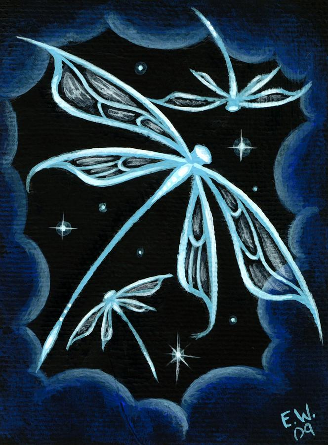 Blue crystal winged dragonflies painting by elaina wagner for Paintings of crystals