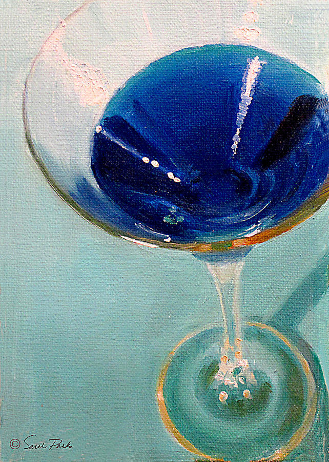 Martini Painting - Blue Curacao by Sarah Parks