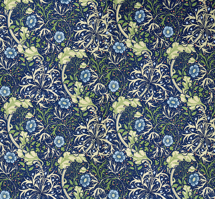 Blue Daisies Design Tapestry  Textile by William Morris