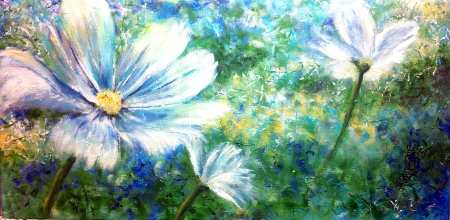 Floral Painting - Blue by Debra Wronzberg