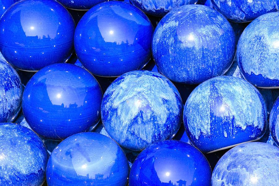 Balls Photograph - Blue Decorative Gems by Tommytechno Sweden