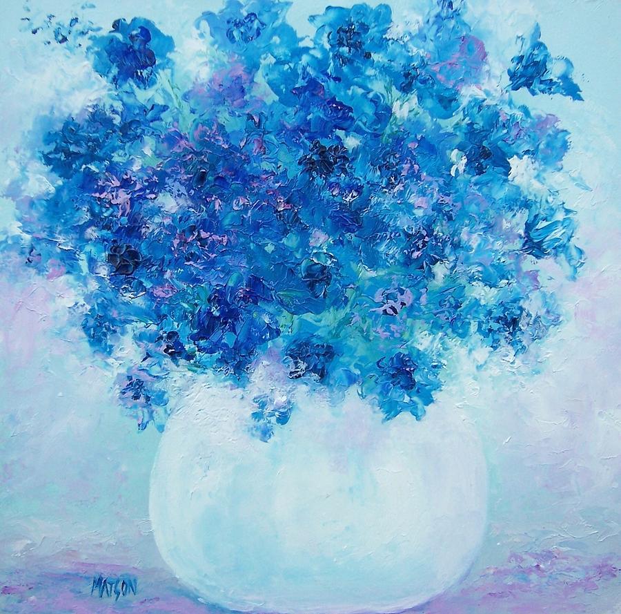 Delphiniums Painting - Blue Delphiniums by Jan Matson