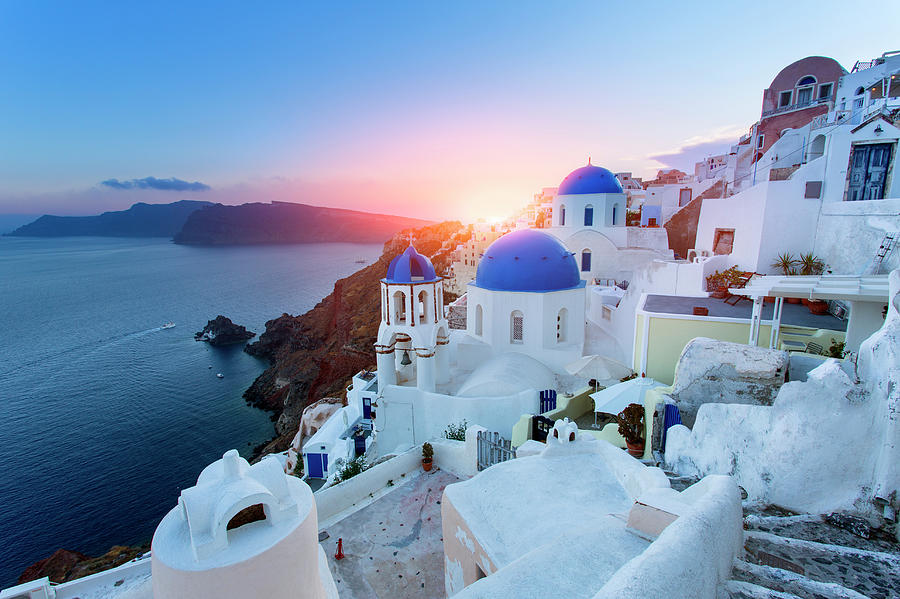 Blue Domed Churches At Sunset, Oia Photograph by Sylvain Sonnet