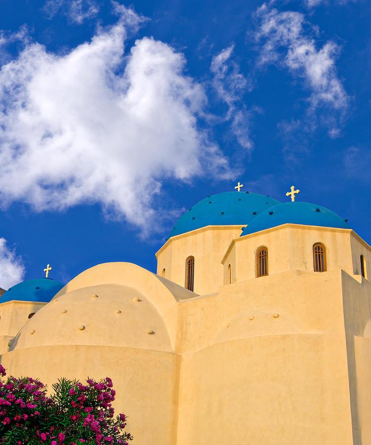 blue domes of Santorini by Meirion Matthias