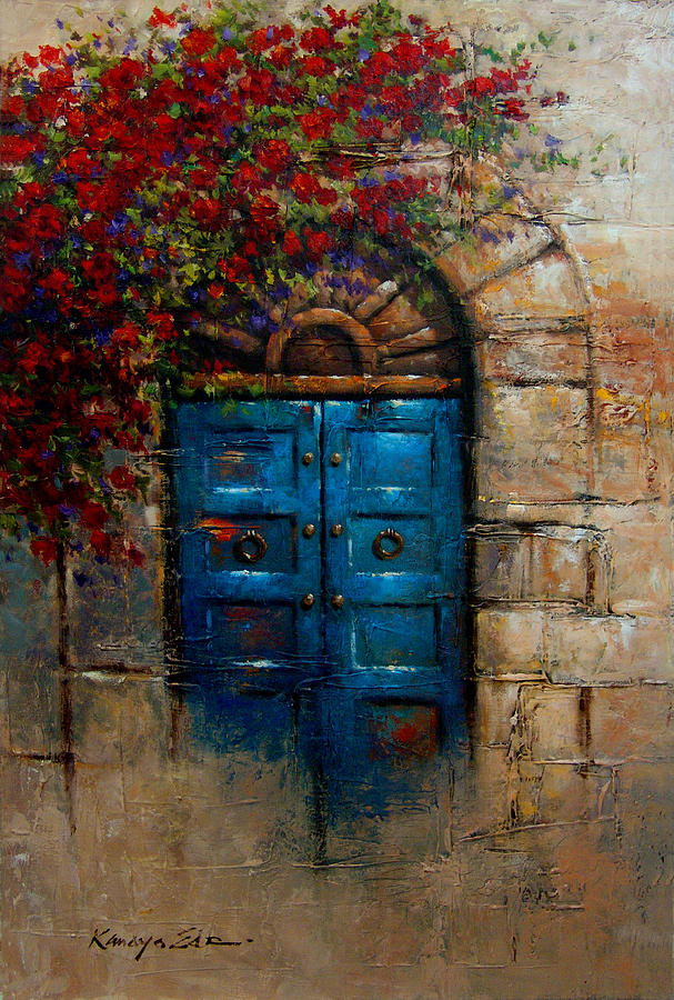 Blue Door Italian Door With Rose Bush From Tuscany Print