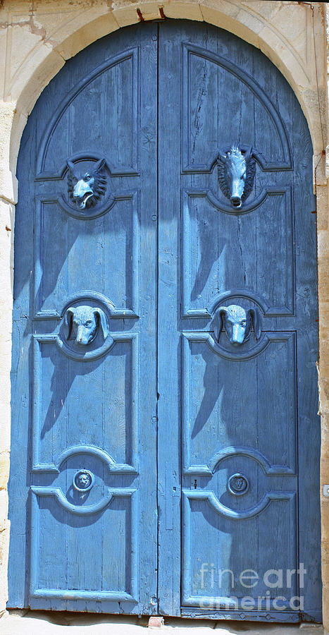 Blue Door Photograph - Blue Door Decorated With Wooden Animal Heads by Christiane Schulze Art And Photography