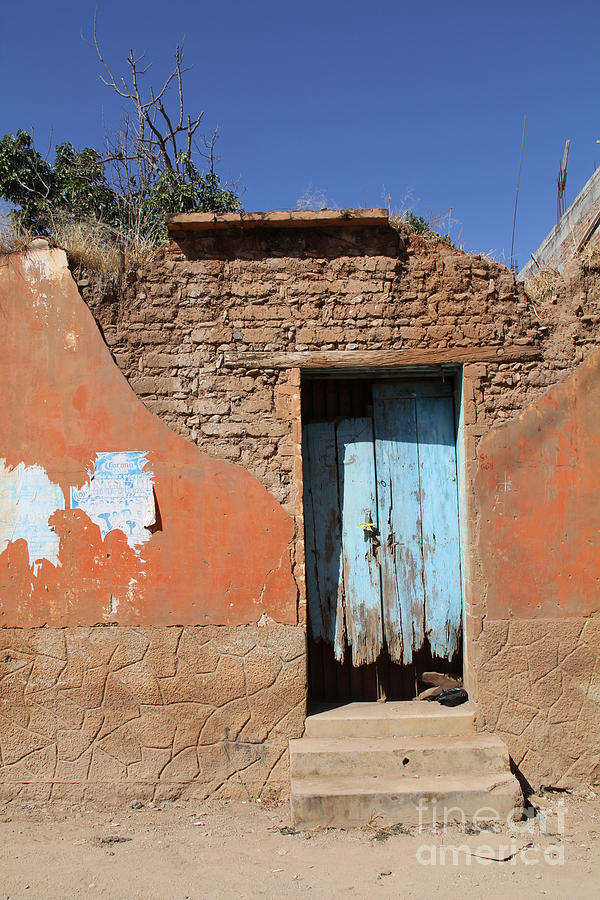 Doors Photograph - Blue Door Olinala Mexico by Linda Queally