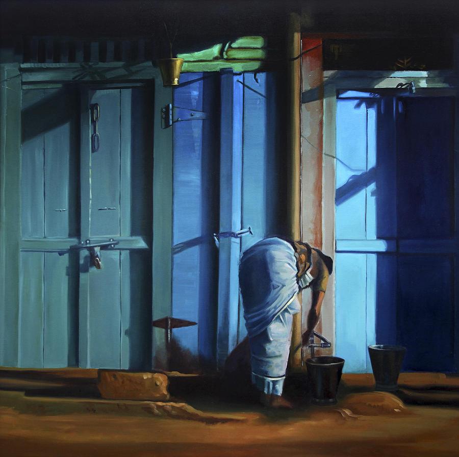 Landscape Painting - Blue Door by Sangeeta Takalkar