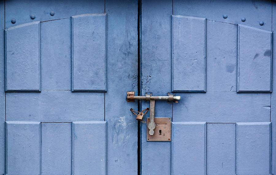 Blue Door With Bolt Photograph