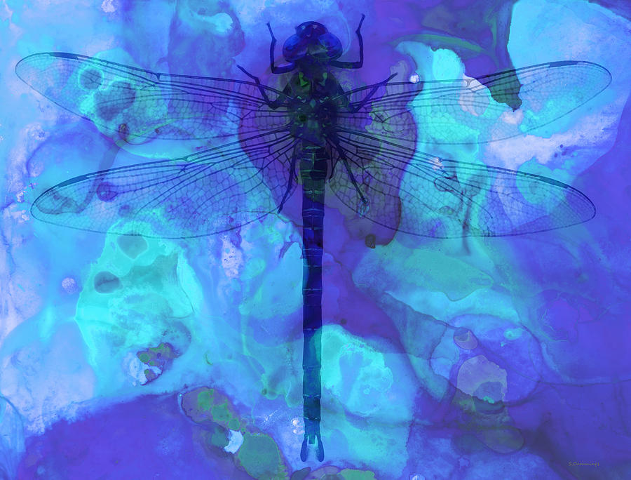 Dragonfly Painting - Blue Dragonfly by Sharon Cummings by Sharon Cummings