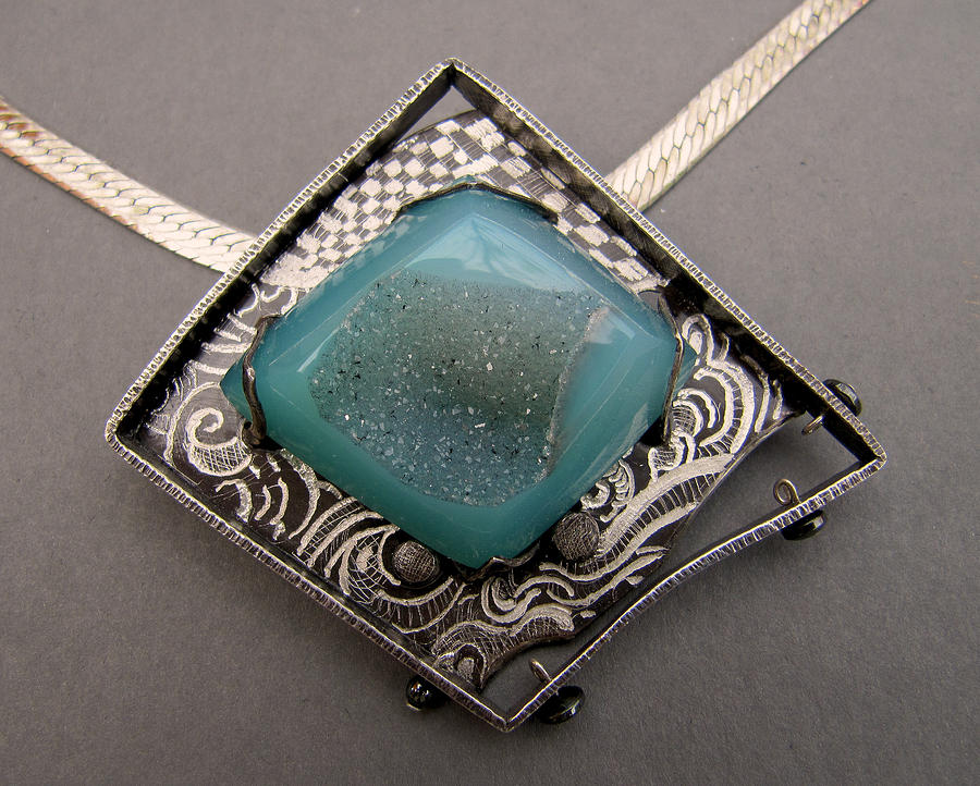 Engraving Jewelry - Blue Duzy Graffitie Necklace by Brenda Berdnik