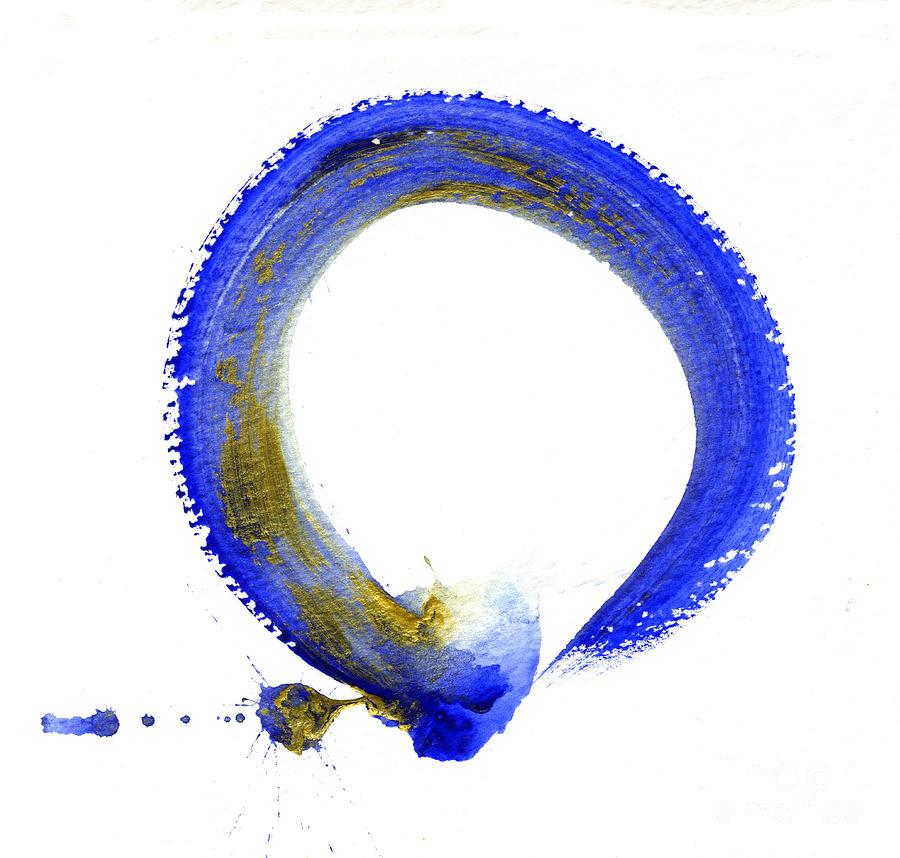 Simple Blue Prints >> Blue Enso Painting by Ellen Miffitt
