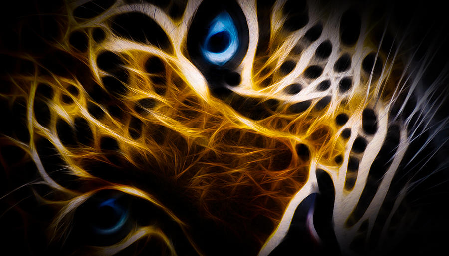 Tiger Digital Art - Blue Eye by Aged Pixel
