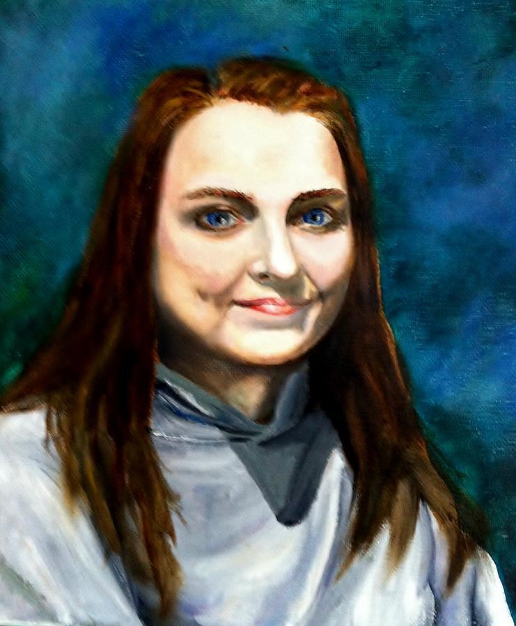 Oil Painting - Blue Eyes by Joan Mace