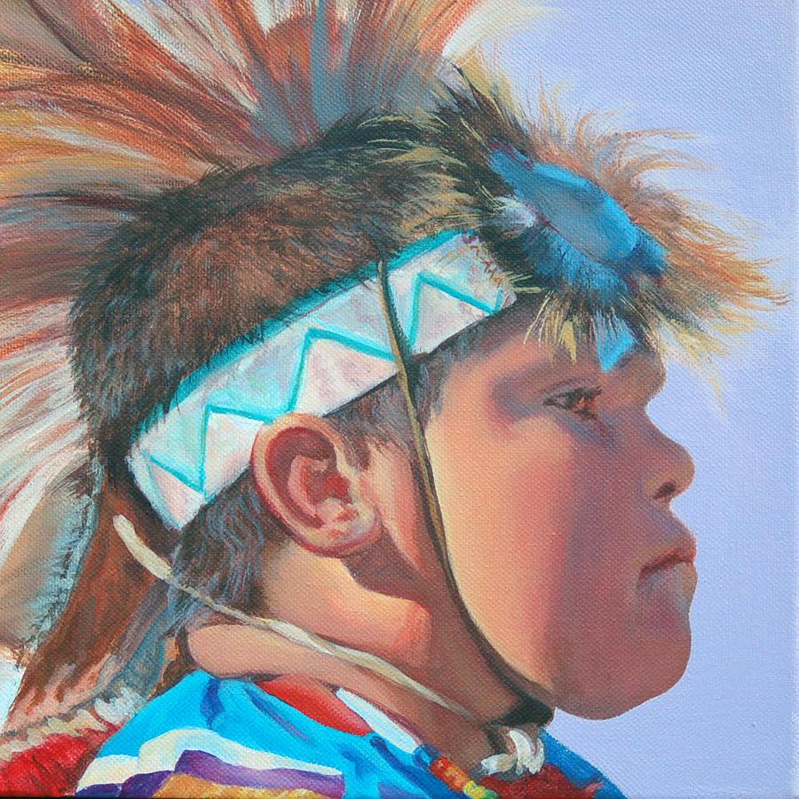 Native American Painting - Blue Falcon by Christine Lytwynczuk